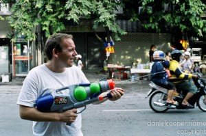 Man with waterpistol